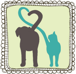 Dog and Cat Silhouette Forming a Heart with their Tails